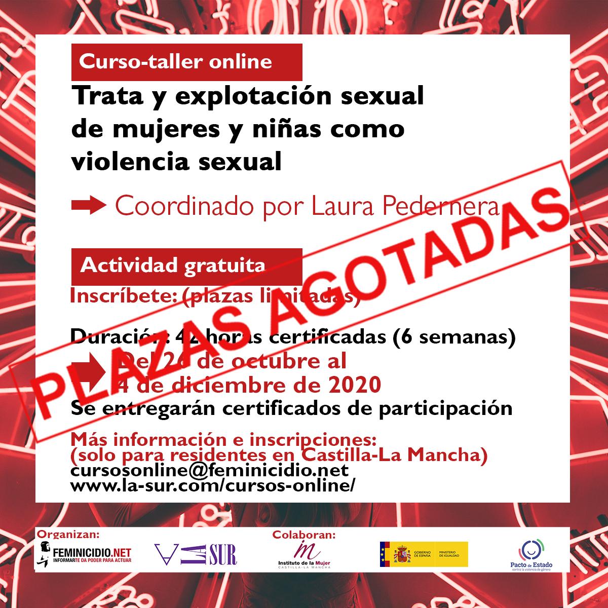 Curso Online Gratuito: Trata y explotación sexual de mujeres y niñas como violencia sexual. Para residentes en Castilla-La Mancha
